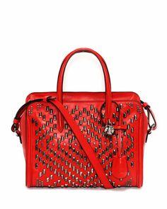 Shop now: Alexander McQueen Studded Padlock Small Zip-Around Satchel Bag, Red