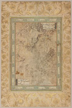 بهرام گور و چوپان، منسوب به میرزا علی، دوره صفوی، در حدود 1540 میلادی. Bahram Gur And The Shepherd about 1540 DIMENSIONS Overall: 45 x 27.5 cm (17 11/16 x 10 13/16 in.) Image: 26.8 x 17.5 cm (10 9/16 x 6 7/8 in.) MEDIUM OR TECHNIQUE Ink and color on paper