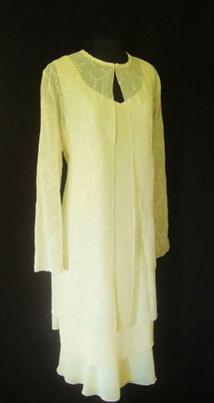 GINA BACCONI Cream Lined Dress and matching floaty Jacket with satiny embroidery all over it, size UK16