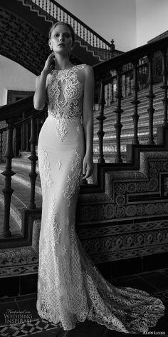 alon livne 2017 bridal sleeveless jewel neckline keyhole heavily embellished bodice elegant sexy sheath wedding dress low back chapel train (alexis) mv -- Alon Livne White 2017 Wedding Dresses