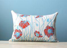 Linen Pillow Cover Decorative Cushion Throw Poppy Flower Blossom 12x16 Orange Blue Lumbar Floral Hand-Printed Screen Print Hostess Gift via Etsy