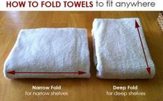How To Fold Towels To Fit Any Shelf - Code Red Hat--I've been folding towels like I learned when I worked at BBB and they take up way to much space! The deep fold will be perfect for the bathroom :) Bathroom Closet, Bathroom Towels, Bathroom Shelves, Closet Shelves, Closet Storage, Bathroom Storage, Kitchen Storage, Linen Closet Organization, Bathroom Organization