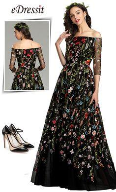 eDressit Long Black Off the Shoulder Floral Lace Dress