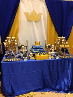 Blue and gold royal baby shower party! See more party planning ideas at CatchMyParty.com!