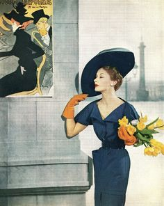 Lisa Fonssagrives wearing gloves & hat by John Frederics, photo by Fernand Fonssagrives, c.1950.