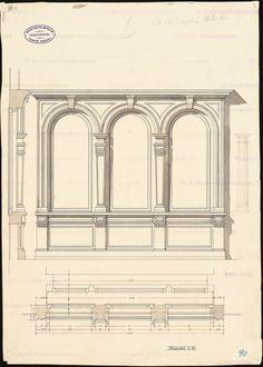Fassadendetail mit Fenstern: Ansicht und Schnitte 1:10, Aufbewahrung/Standort: