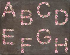 Alphabet in pink floral watercolors: complete A Z hand