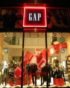 Christmas Neon Cube Structure | Gap, Champs Elysees, Paris Visual Merchandising Displays, Visual Display, Display Design, Store Design, Dome Structure, Fabric Structure, Retail Windows, Store Windows, Gap Shop