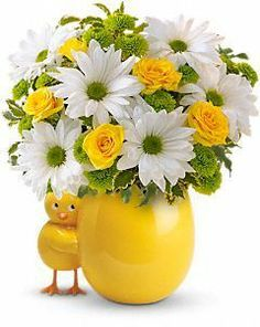 My Little Chickadee Bouquet     Hello, little chickadee! Welcome a new baby with the springtime colors of this gender-neutral arrangement, presented in a ceramic vase so darling, mom will use it later in the nursery. A perfect new baby present, or a greeting to the spring season, these happy flowers are also a celebration of friendship.  White daisies, yellow roses and green button spray chrysanthemums.    https://www.4165flower.com/index.asp?pid=4=viewproduct=10155=23