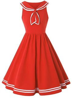ZAFUL Women Vintage Dress 1950s Nautical Style Summer Sailor Collar Sleeveless Cute Cocktail Party Swing Dresses at Amazon Women's Clothing store: