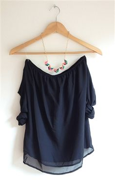 black off the shoulder top with chevron necklace! So classy and stylish!