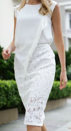 ivory off white laser die cut lace pencil skirt + silk cap sleeve asymmetrical silk blouse