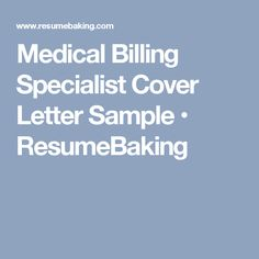 medical billing specialist cover letter sample resumebaking. Resume Example. Resume CV Cover Letter