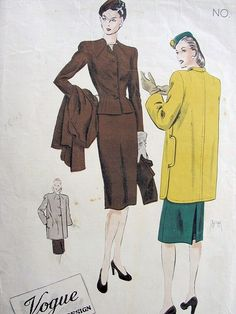 1940s Stunning Fitted Suit and Coat Pattern VOGUE COUTURIER 385 Slim Back Pleat Skirt Lovely Shaped Neckline Jacket, Seam Interest Coat Jacket Bust 32 Vintage Sewing pattern + Rare 40s Vogue Label