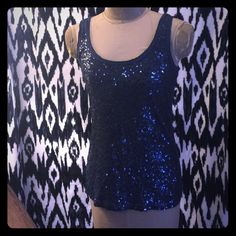 ☂☂J CREW TANK SEQUINED WITH RAW EDGE TRIM Must have in every closet!!  Dark gray with black sequins.  No issues!  Make an offer J. Crew Tops Tank Tops