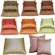 Kela Indian Sari Pillow Covers, hand stitched from traditional Indian sari fabric and framed with an ornate embroidered trim. Available in different size and colors. Decorative Pillow Covers, Throw Pillow Covers, Sofa Pillows, Throw Pillows, Sari Fabric, Hand Stitching, Indian Fashion, Red Burgundy, Indian Style
