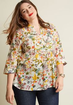 Back Road Ramble Cotton Tunic in White Wildflowers in XS, #ModCloth