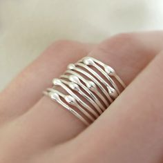 A personal favorite from my Etsy shop https://www.etsy.com/listing/94458480/sterling-silver-stacking-ring-set-rain
