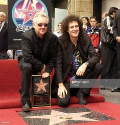 Roger Taylor and Brian May of legendary British rock band Queen receive a star on the Hollywood Walk of Fame. They join the Beatles as one of only a few non-U. artists to receive the honor. Freddie Mercuri, Brian Rogers, Queen Photos, We Will Rock You, British Rock, Queen Freddie Mercury, Queen Band, Brian May, Hollywood Walk Of Fame