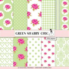 "Shabby Chic Digital Paper: ""Green Shabby Chic"" Floral scrapbook background, romantic papers with roses, damask for wedding invites, cards"