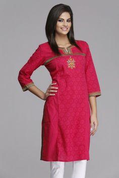 Pretty #Pink Straight Cotton #Kurta