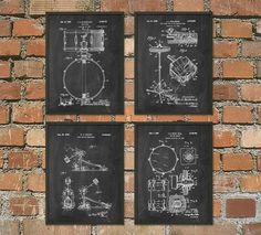 Drum Kit Patent Prints Set of 4 - Drummer Musician Wall Art Poster - Music Room Decor - Percussion Musical Instruments