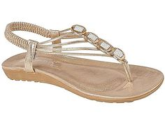 67d6460db61c Ladies Emma Shalimar Faux Leather Metallic Toe Post Sling Back Low Wedge  Flat Summer Sandals Size 3-8  Amazon.co.uk  Shoes   Bags