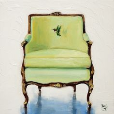 Daily Oil Painting a day, Louis Bergere Chair, hummingbird, Kimberly Applegate Art Painting Gallery, Fine Art Gallery, Oil Pastel Techniques, Hummingbird Art, Interior Rendering, Painted Chairs, Animal Paintings, Beautiful Paintings, Painting Inspiration