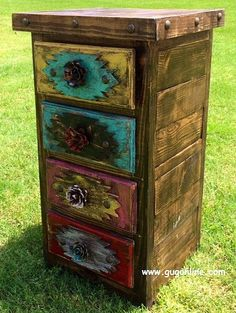 Handmade Rustic Tribal Side Table or Cabinet