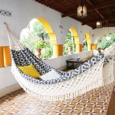 10 hammocks to lounge in all summer long  cocktail in hand   pretty  xl navy jacquard hand woven brazilian hammock   additional      rh   pinterest