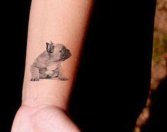 Puppy Pug Temporary Tattoo - SomaArtTattoo Temporary Tattoo - wrist quote tattoo body sticker fake tattoo wedding tattoo small tattoo
