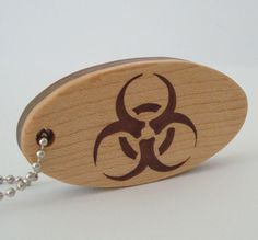 Biohazard Key Chain Wood Scroll Saw Keychain by OohLookItsARabbit, $15.00