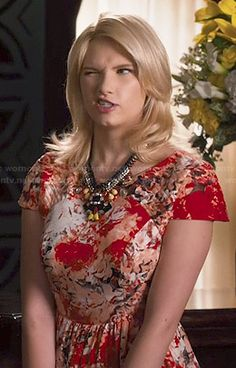 Magnolia's red abstract painted print dress on Hart of Dixie. Outfit Details: http://wornontv.net/47319/ #HartofDixie