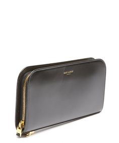Saint Laurent : black leather zip continental wallet : style # 328724301