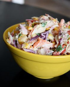 This southwestern slaw can be made with Greek yogurt instead of mayo for a healthier version without losing any of the taste!