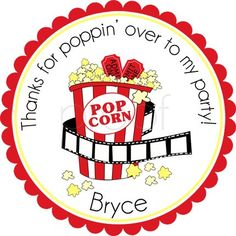 Night At The Movies Personalized Stickers - Party Favor Labels, Address Labels, Gift Tag, Birthday Stickers, Movie Theater - Choice of Size Movie Theatre Birthday Party, Cinema Party, Sleepover Birthday Parties, Movie Night Party, Birthday Party Themes, Party Time, Kid Parties, Birthday Fun, Birthday Cakes