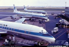 Pan American line-up of Douglas DC-8-32s at JFK (Idlewild)