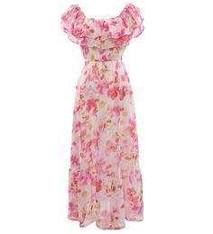 Floral Printed Bare Shoulder Chiffon Beach Maxi Dress #Floral #Dress #maykool