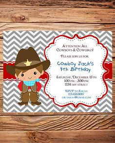 western cowboy party invitation   ayon's party   pinterest, Party invitations