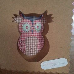 Do crafts owl die on brown papermania card. For Christmas or any other occasion www.facebook.com/stephanieshandmadecard