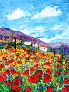 Landscape painting original oil Provence Poppies by Karensfineart