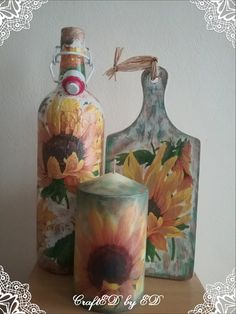 Decoupage candle pillar candle autumn candle by CraftEDbyED