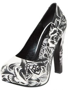 "Women's ""Serenity"" Pumps by Metal Mulisha (Black/White) #inkedshop #pump #heel #shoes #rose #tattoo"