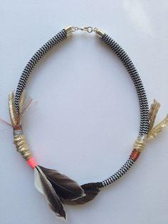 Ruffle Those Feathers feathered necklace pale door sarahmakesthese