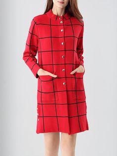 Shop Coats - Cotton-blend Pockets Simple Long Sleeve Coat online. Discover unique designers fashion at StyleWe.com.