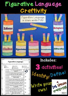 A hands-on, creative craftivity to engage your students in figurative language.  Students identify figurative language in sentences, define each type, and then write their own sentences..  $