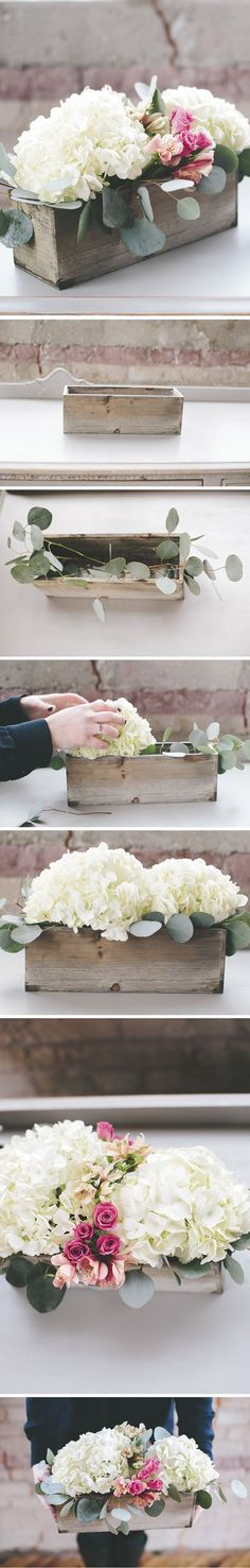 How To: A Modern DIY Hydrangea Centerpiece That Anyone Can Make (Diy Wedding Centerpieces) Chic Wedding, Wedding Table, Rustic Wedding, Wedding Ideas, Trendy Wedding, Wedding On A Budget, Budget Wedding Flowers, Budget Flowers, Industrial Wedding Decor