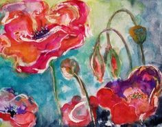 Wow Poppies watercolor painting a day by DELILAH. Bright colorful poppies on 140 lb watercolor paper dance in the wind 12x9 matted to 14x11.