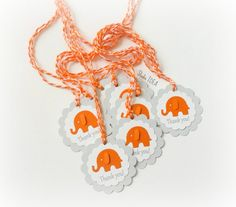 12 Grey with Orange Elephant  Scallop Thank you Tags by StudioIdea