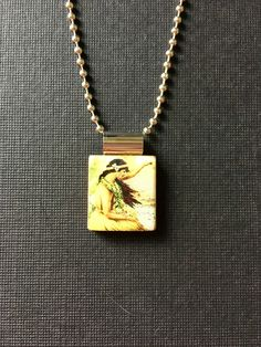 Hawaiian jewelry, handmade jewelry, recycled scrabble tile jewelry, vintage Hawaiian hula girl pendant, vintage hula girl necklace, summer by InSmallPackages on Etsy